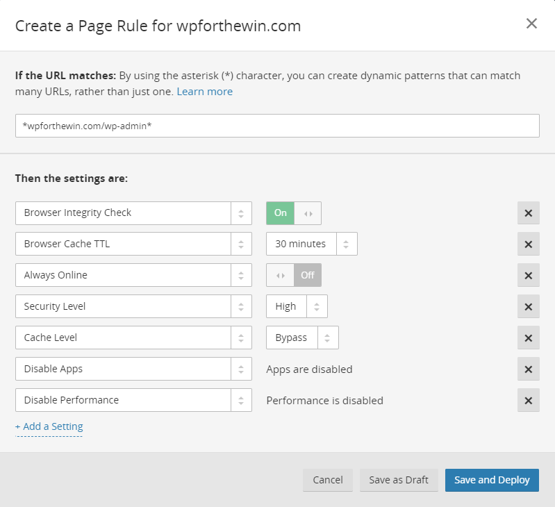 Cloudflare Page Rule 1 for WordPress